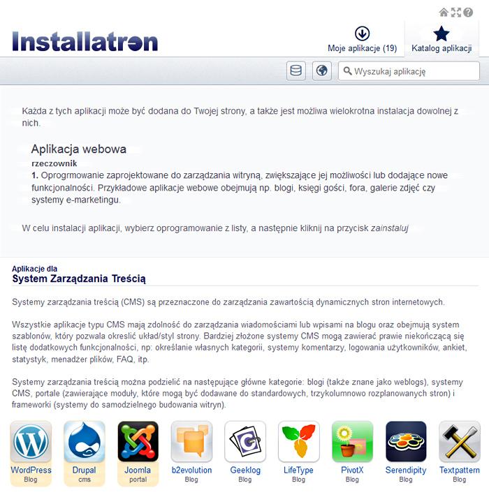 Installatron - instalcja systemu WordPress