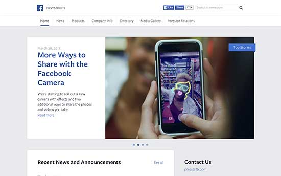 Facebook Newsroom wordpress
