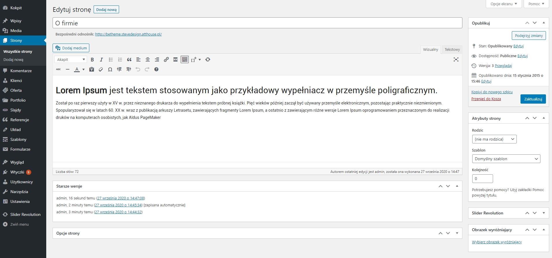 Zarządzanie - kokpit systemu WordPress