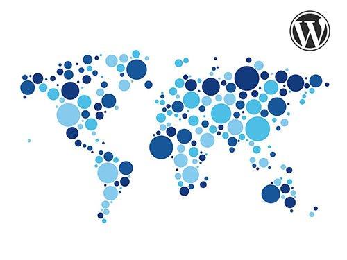 Strony WordPress - mapa świata